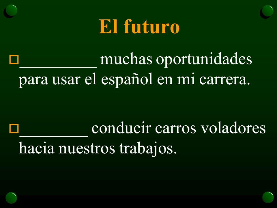 El futuro o ¿_________ hablar más de dos idiomas en el futuro? o _________ muchas oportunidades para usar el español en mi carrera.