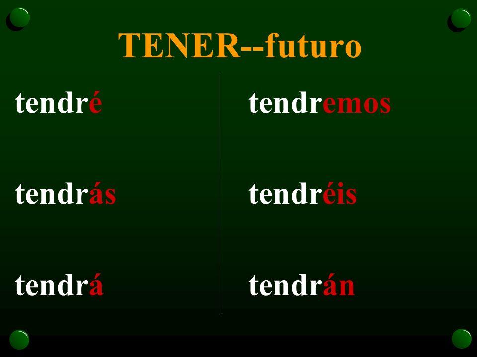 Tener-poder-saber-hacer Los verbos tener, poder, saber y hacer son radicales en el futuro: - tendr - podr - sabr - har- Su conjugación es igual a la d