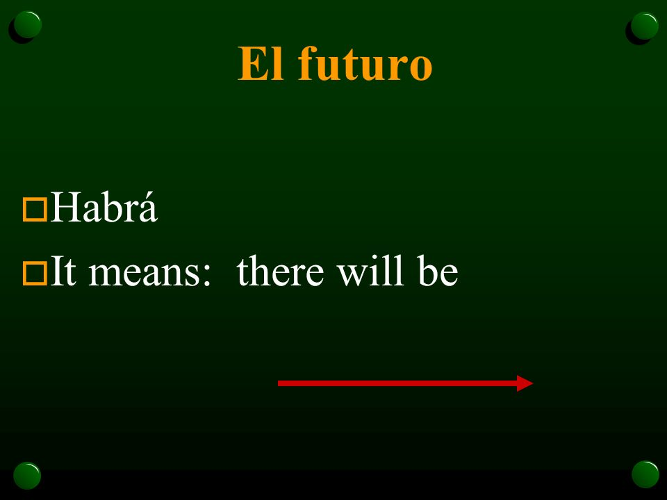 El futuro o Habrá o It means: there will be