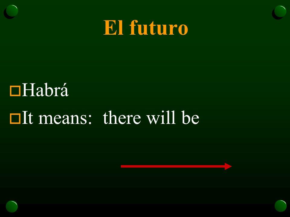 El futuro o ¿Recuerdan el verbo haber? there is/are --- hay there was ---había o … y el futuro de haber es … there will be---habrá