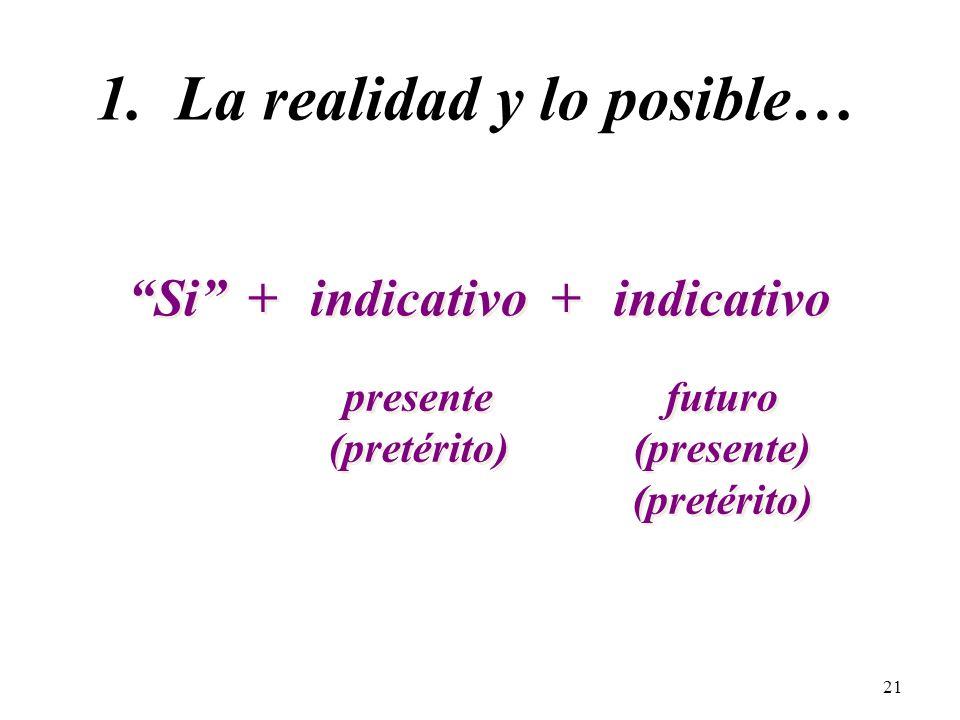 20 Hay dos tipos de cláusulas condicionales que usamos en español: (If…then…)(If…then…) 1. Cláusulas que hablan de la realidad y lo posible… 2. Cláusu