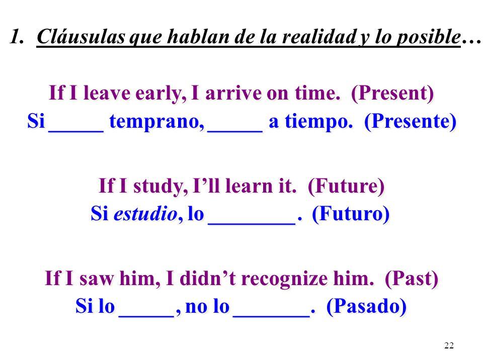 21 1. La realidad y lo posible… Si + + indicativo + + presente (pretérito) presente (pretérito) futuro (presente) (pretérito) futuro (presente) (preté