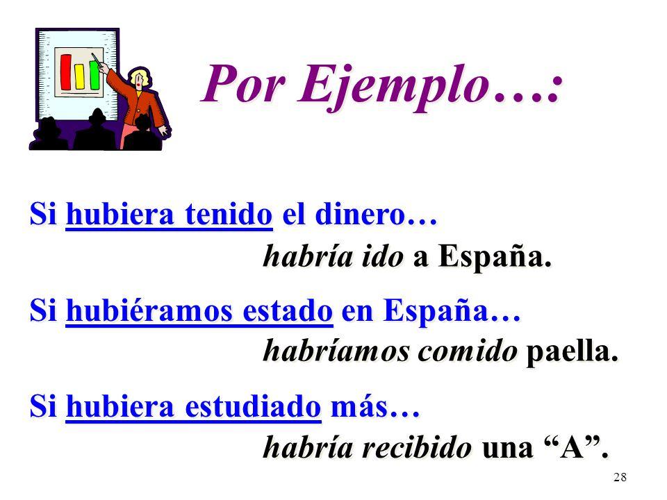 27 Contraria a la realidad………en el pasado If I had had the money… (I didnt…) If we had been in Spain… (We werent…) If I had studied more… (I didnt…) I