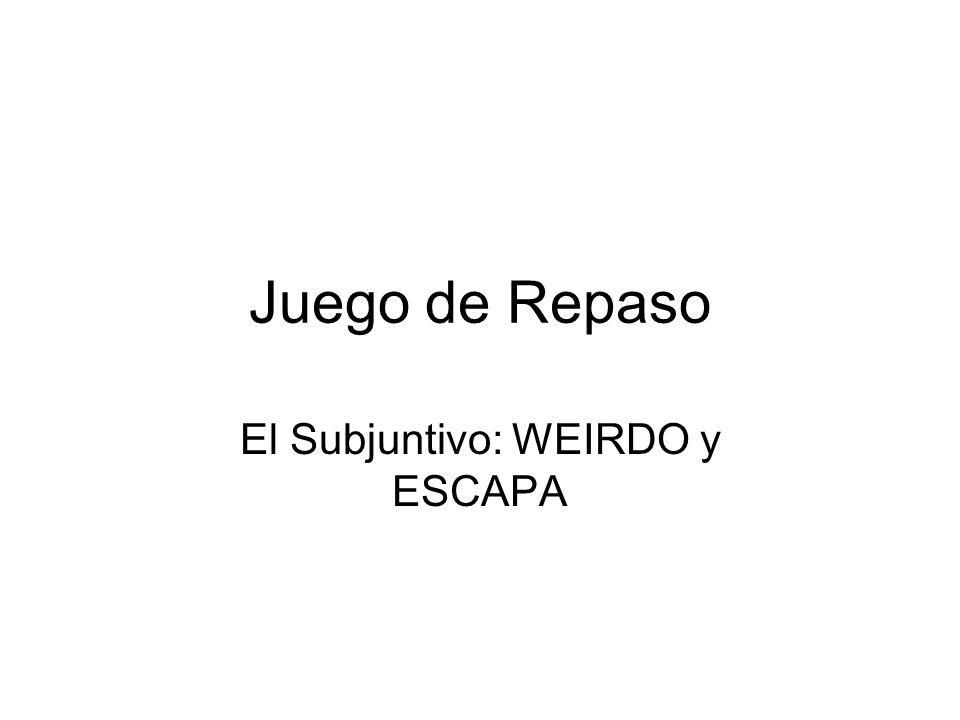 Juego de Repaso El Subjuntivo: WEIRDO y ESCAPA