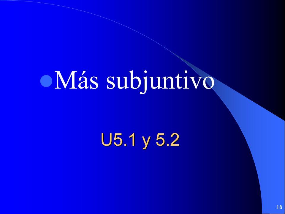 17 Ahora a practicar Con un compañero vas a completar la hoja de práctica y el paquete del subjuntivo