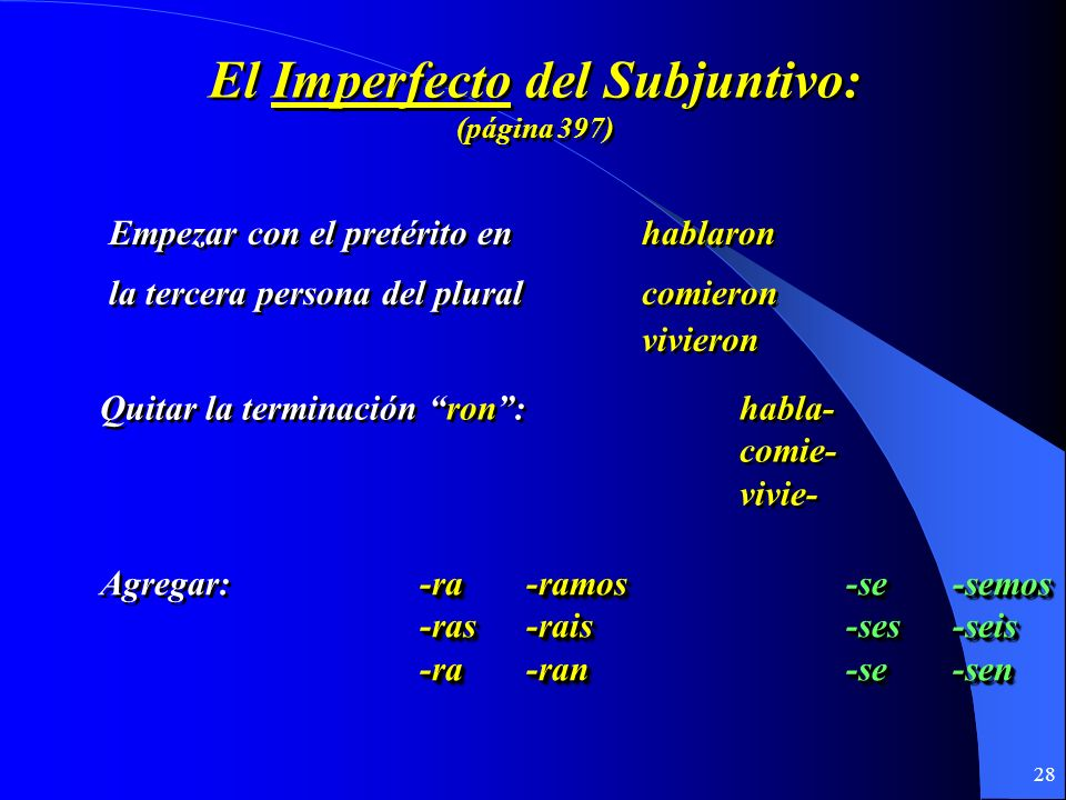 27 El Imperfecto Del subjuntivo El Imperfecto Del subjuntivo U7.1 y 7.2