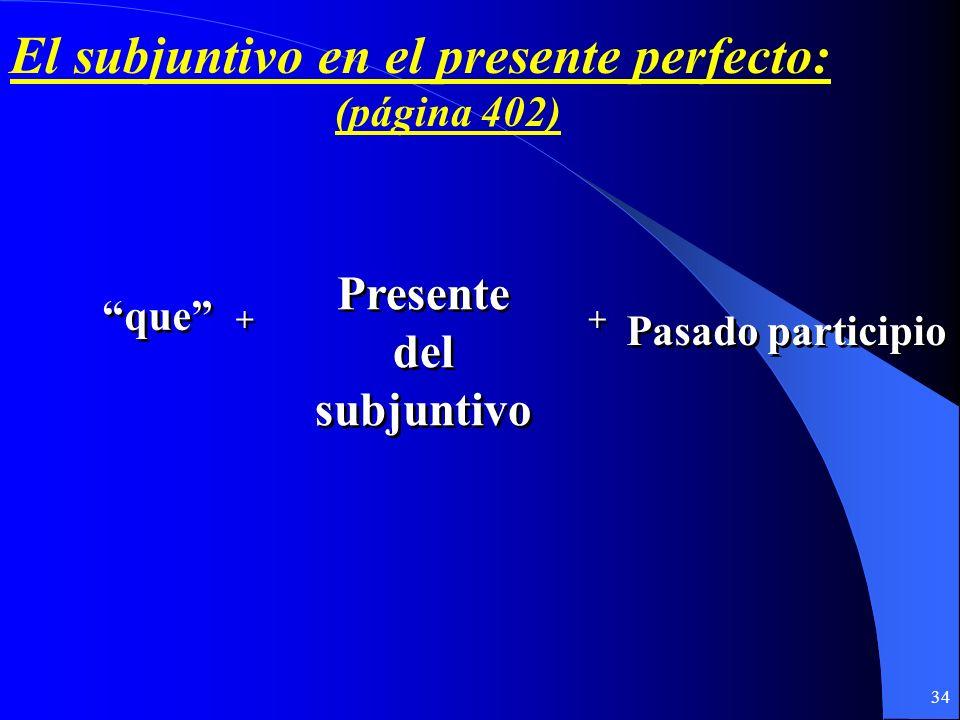 33 El subjuntivo en los tiempos perfectos (página 402)