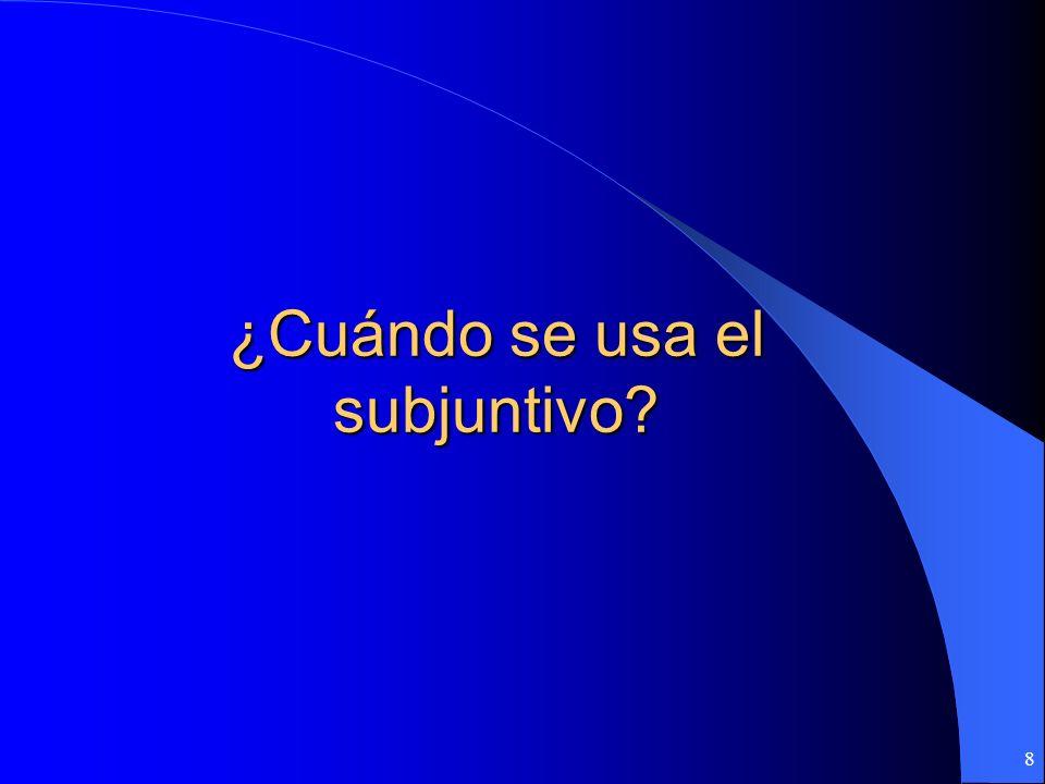 8 ¿Cuándo se usa el subjuntivo?