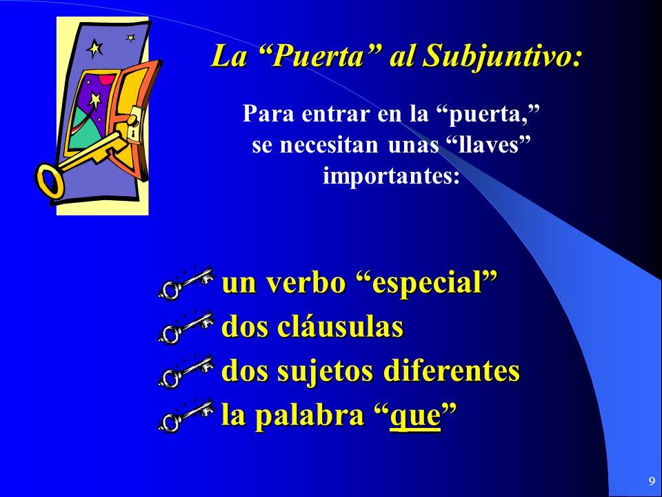 9 La Puerta al Subjuntivo: Para entrar en la puerta, se necesitan unas llaves importantes: un verbo especial dos cláusulas dos sujetos diferentes la palabra que