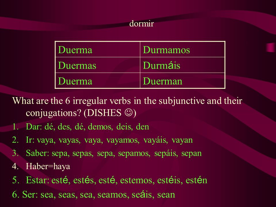 dormir DuermaDurmamos Duermas Durm á is DuermaDuerman What are the 6 irregular verbs in the subjunctive and their conjugations.