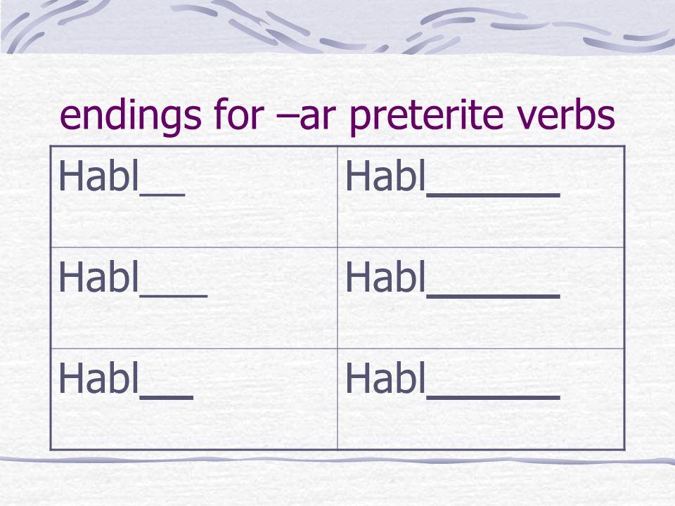 endings for –ar preterite verbs Habl__Habl_____ Habl___Habl_____ Habl__Habl_____