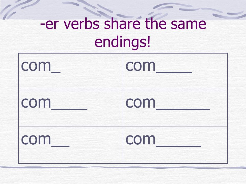 -er verbs share the same endings! com_com____ com______ com__com_____