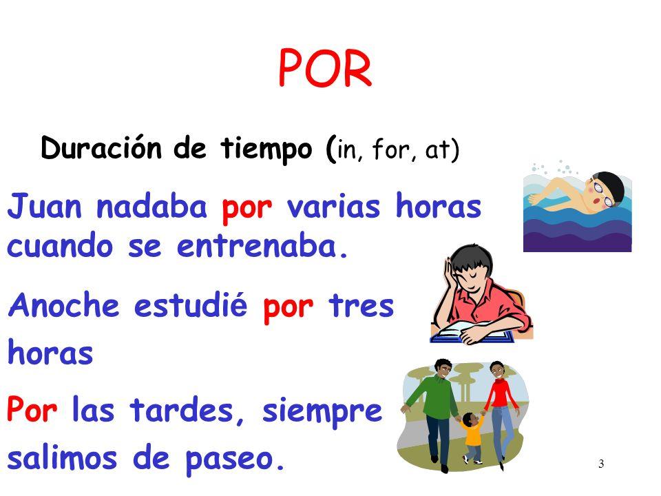 2 POR Movimiento: ( by, along, through, around) Los jóvenes andan por la escuela cantando y gritando. El ladrón entró por la ventana.