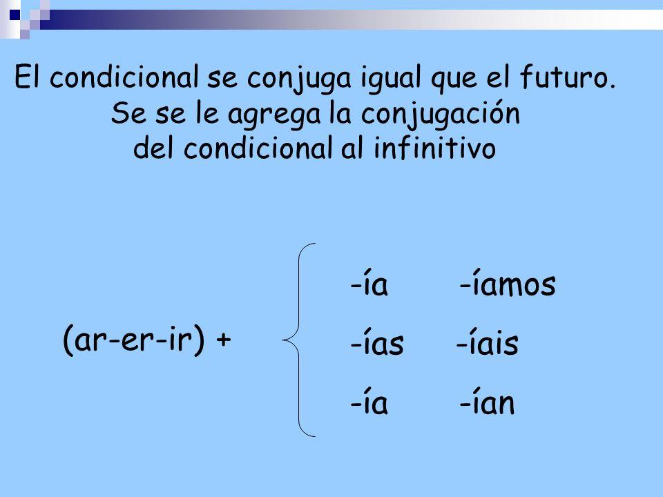 El condicional se conjuga igual que el futuro. Se se le agrega la conjugación del condicional al infinitivo -ía -íamos -ías -íais -ía -ían (ar-er-ir)