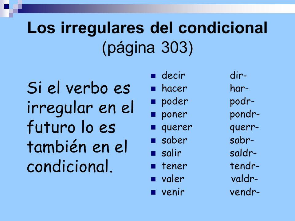 Los irregulares del condicional (página 303) Si el verbo es irregular en el futuro lo es también en el condicional. decir dir- hacer har- poder podr-