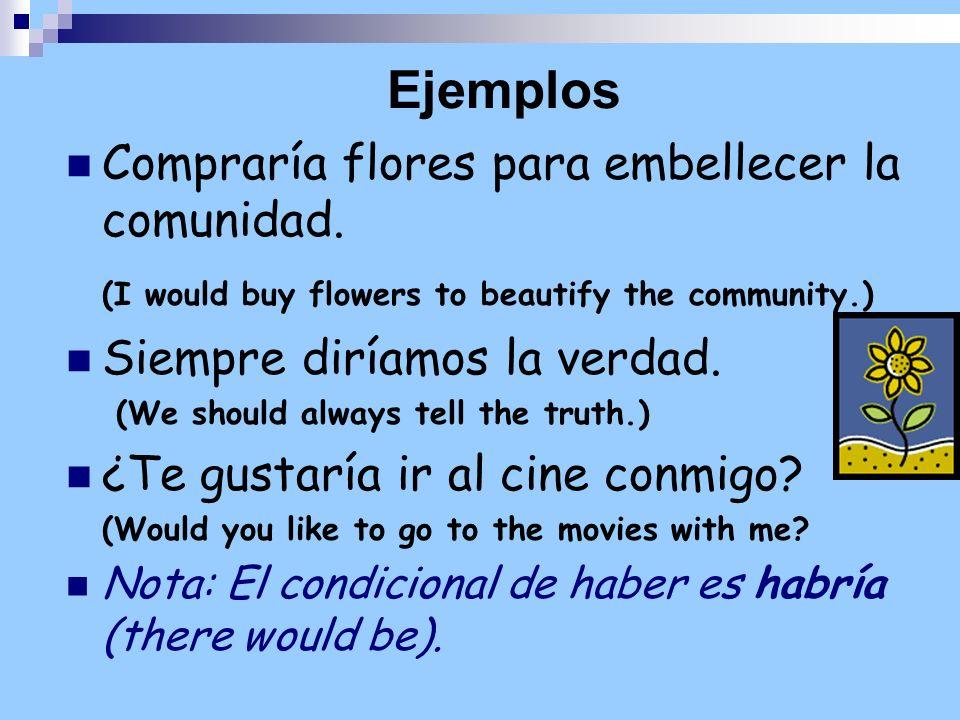 Ejemplos Compraría flores para embellecer la comunidad. (I would buy flowers to beautify the community.) Siempre diríamos la verdad. (We should always