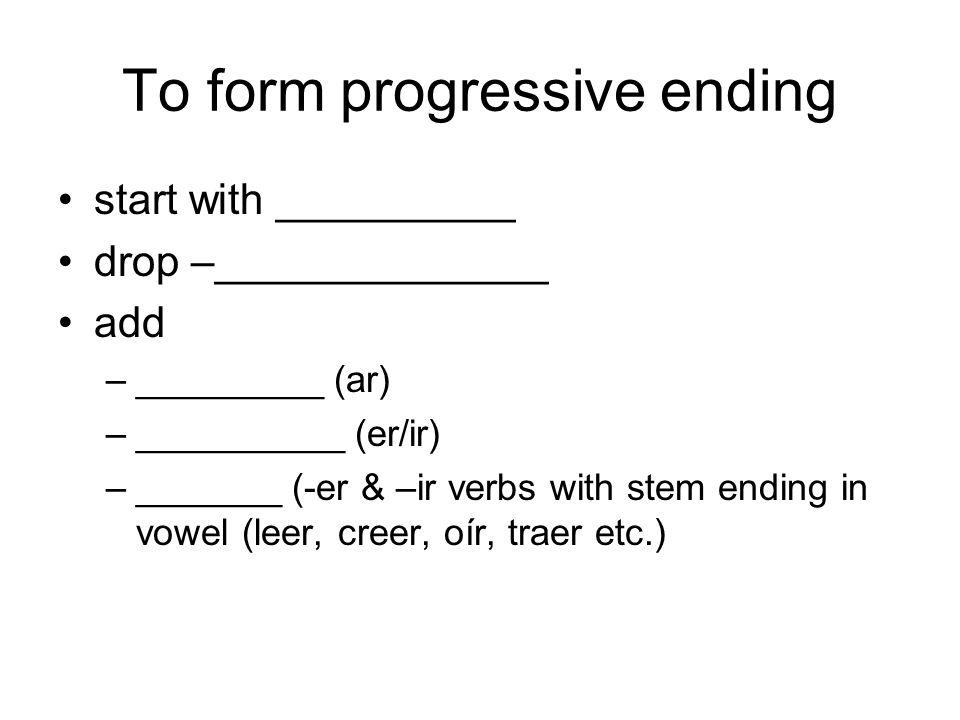 Present Progressive To emphasize that an action _____________, use the present progressive. estar + -______________________ Ella está ______________ l