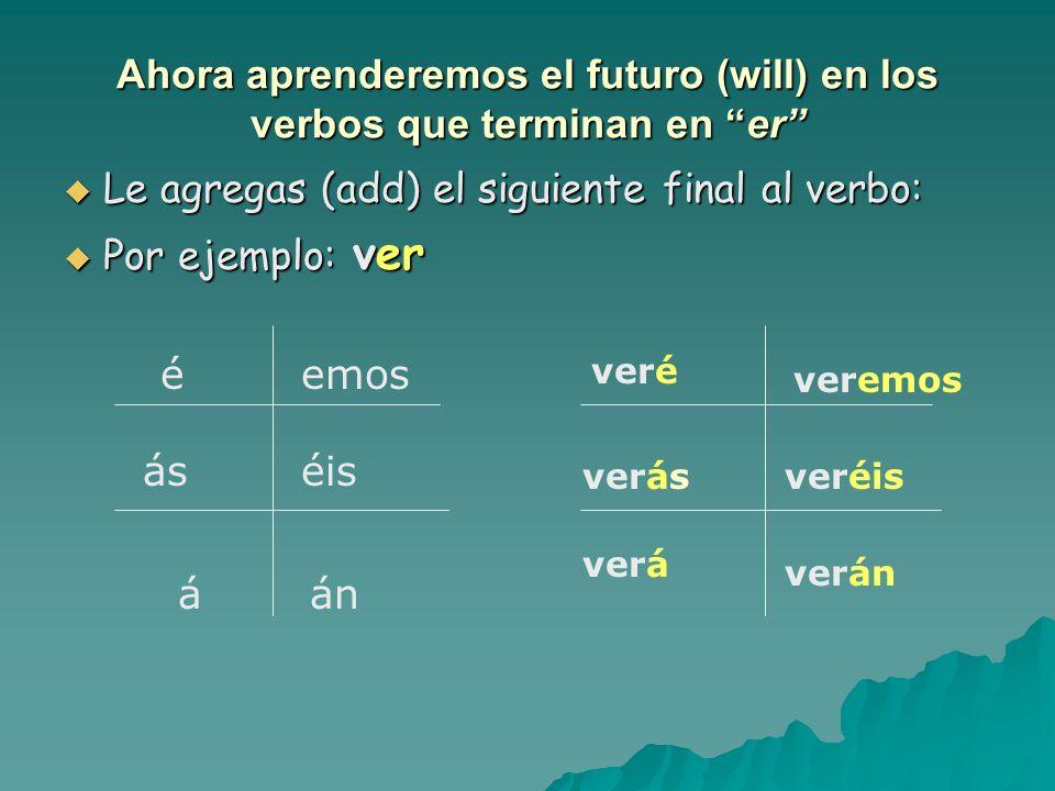 Ahora aprenderemos el futuro (will) en los verbos que terminan en er Le agregas (add) el siguiente final al verbo: Le agregas (add) el siguiente final al verbo: Por ejemplo: ver Por ejemplo: ver é ás á emos éis án veré verás verá veremos veréis verán