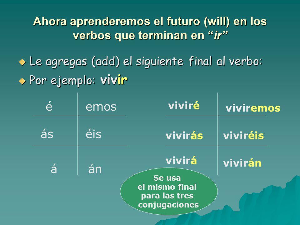 Ahora aprenderemos el futuro (will) en los verbos que terminan en er Le agregas (add) el siguiente final al verbo: Le agregas (add) el siguiente final