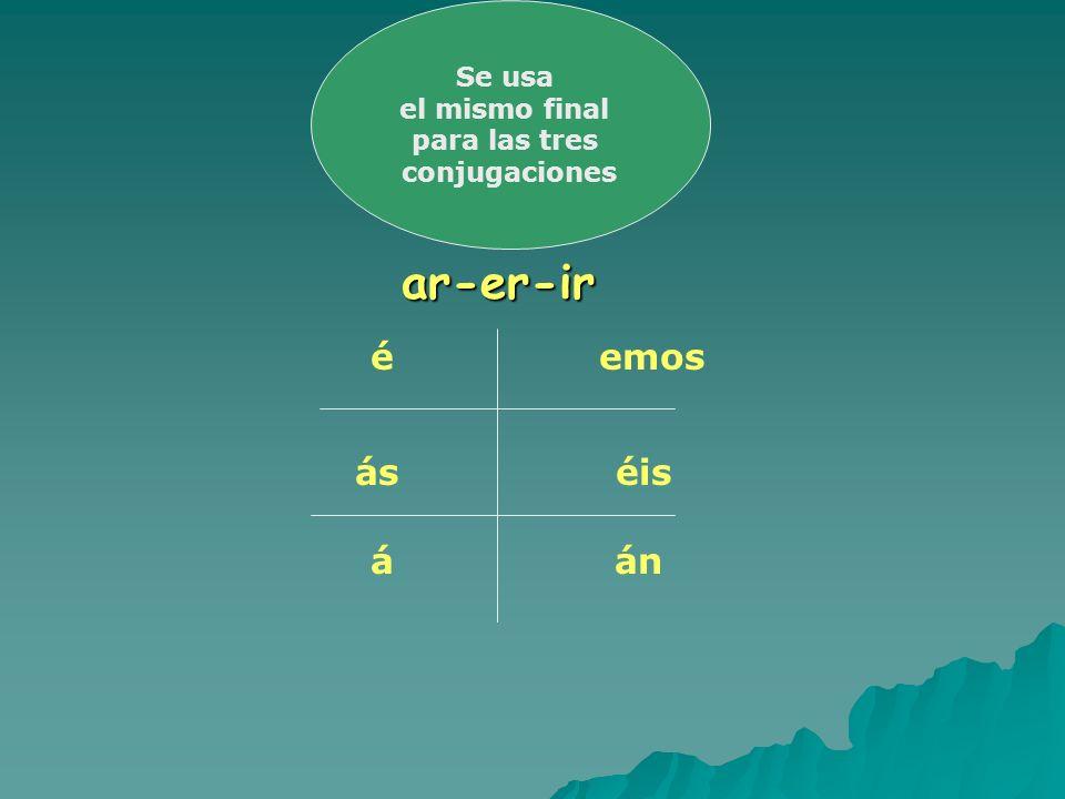 ar-er-ir ar-er-ir é ás á emos éis án Se usa el mismo final para las tres conjugaciones