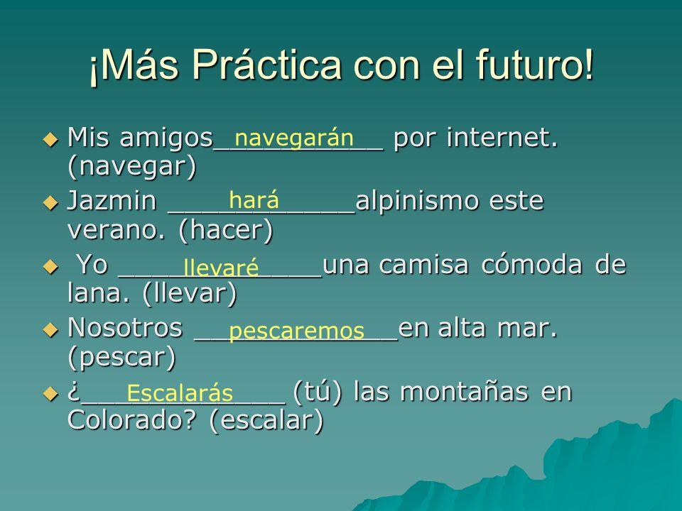 En algunos verbos irregulares, deberas cambiar algo en la raíz (stem) antes de conjugarlos: Infinitives Future Stem Decir dir- Hacerhar- Ponerpondr- S