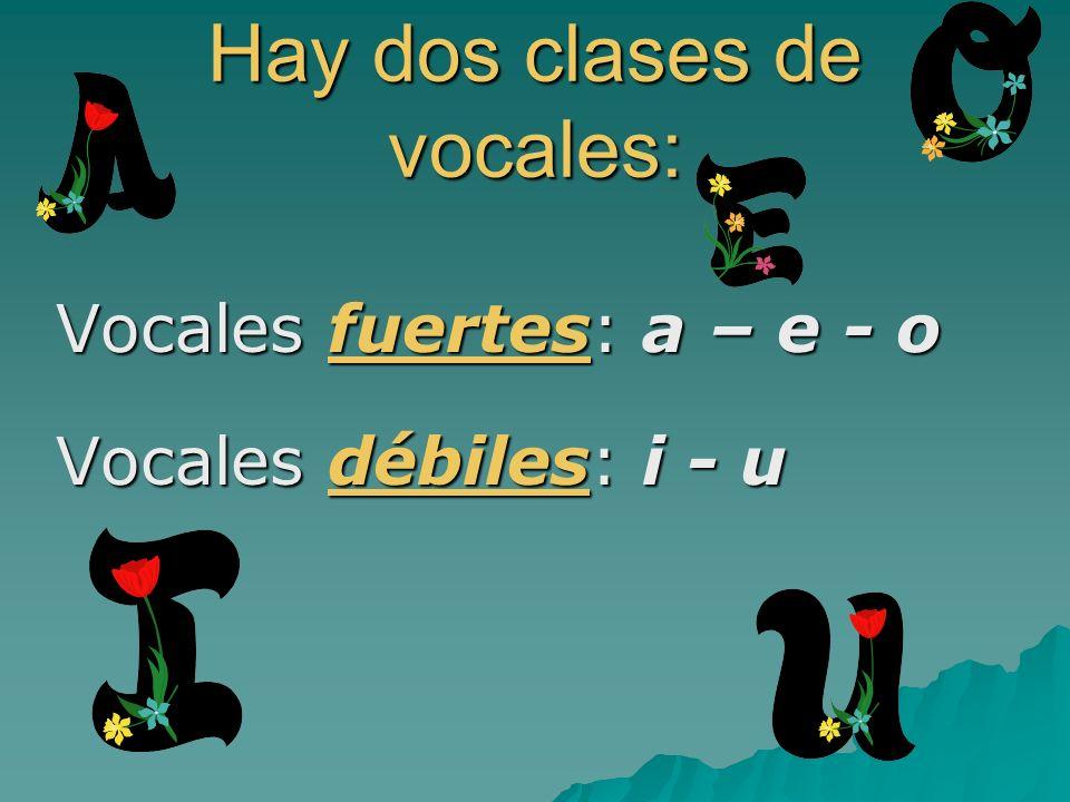 Hay dos clases de vocales: Vocales fuertes: a – e - o Vocales débiles: i - u