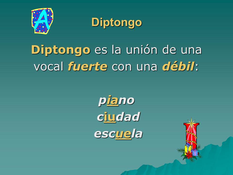 Diptongo Diptongo es la unión de una vocal fuerte con una débil: piano ciudad ciudad escuela escuela
