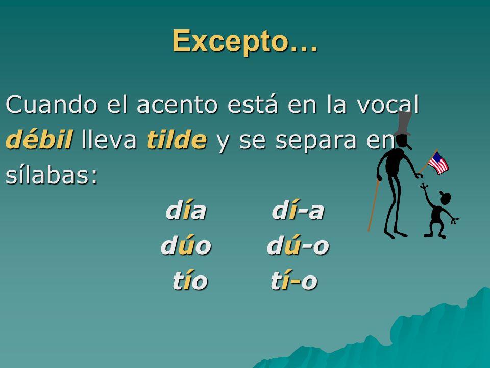 Excepto… Cuando el acento está en la vocal débil lleva tilde y se separa en sílabas: día dí-a dúo dú-o tíotí-o