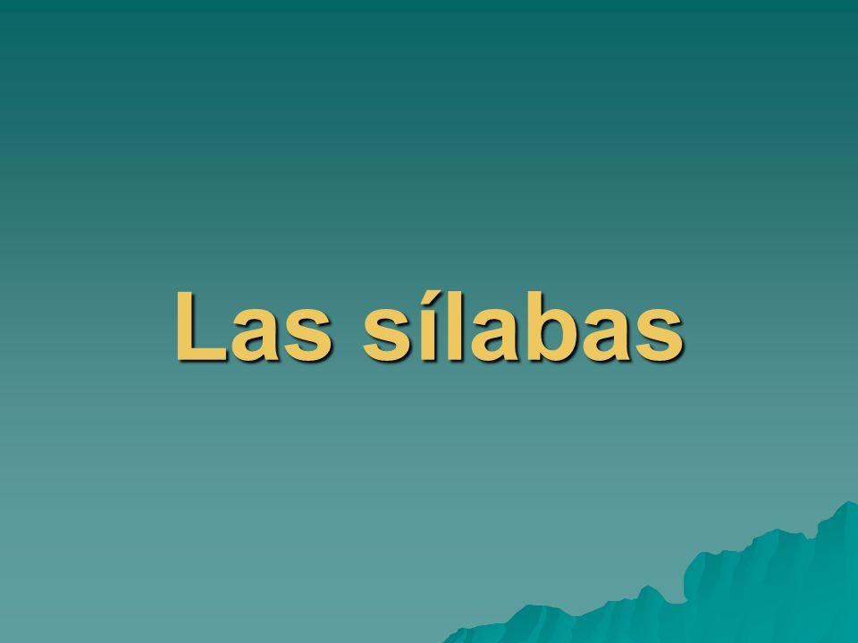 Todas las palabras se separan en sílabas Las sílabas se forman con consonante + vocal: ca-saca-fe-te-rí-aau-la Una vocal sola puede formar una sílaba: a-gua