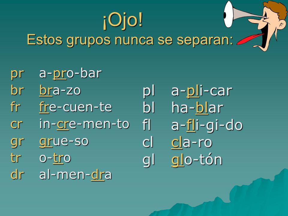 ¡Ojo! Los diptongos nunca se separan en sílabas es-cue-la pia-no pia-no puer-ta puer-ta