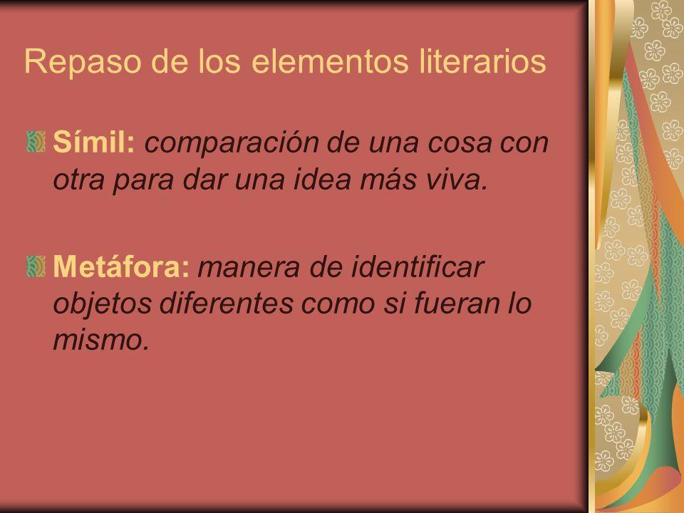 Repaso de los elementos literarios Ficción: lo opuesto a la realidad, personajes o acciones inventados por el escritor.