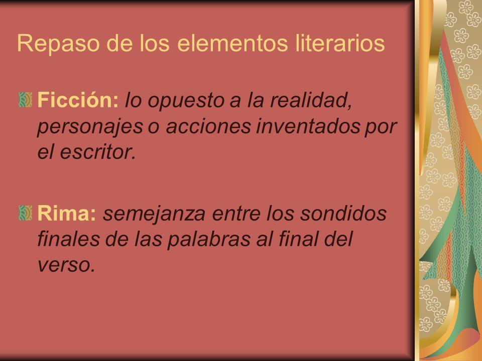 Repaso de los elementos literarios Tema: idea central o mensaje de la obra literaria.