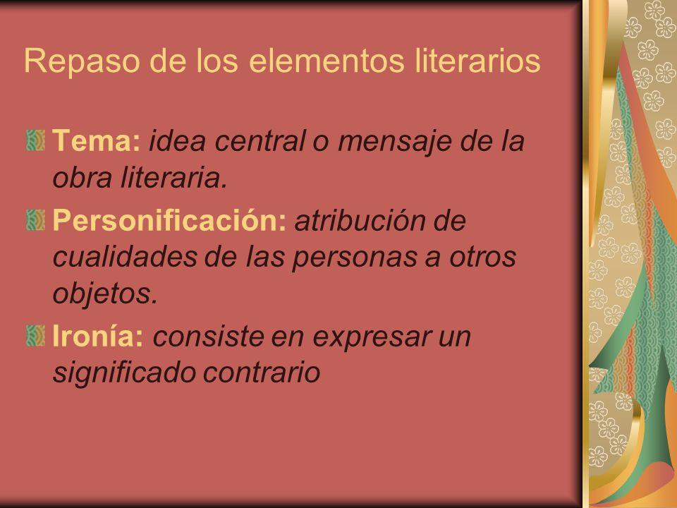 Repaso de los elementos literarios Fábula: texto que ilustra una moraleja, donde los protagonistas son animales.