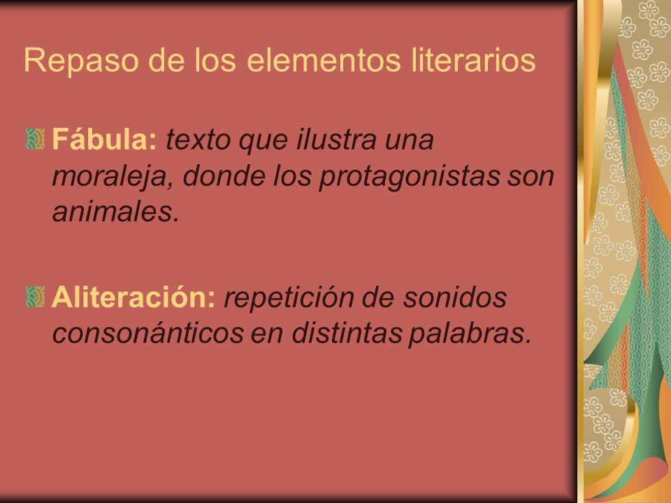 Repaso de los elementos literarios Leyenda: historia de seres humanos o eventos con poderes especiales.