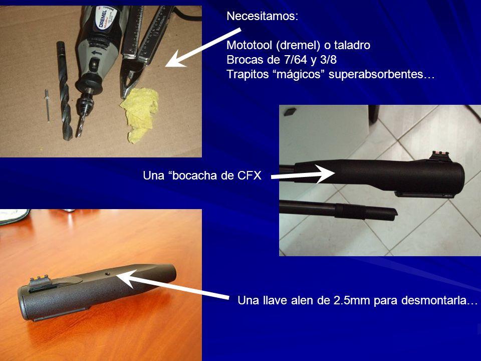 Necesitamos: Mototool (dremel) o taladro Brocas de 7/64 y 3/8 Trapitos mágicos superabsorbentes… Una bocacha de CFX Una llave alen de 2.5mm para desmo