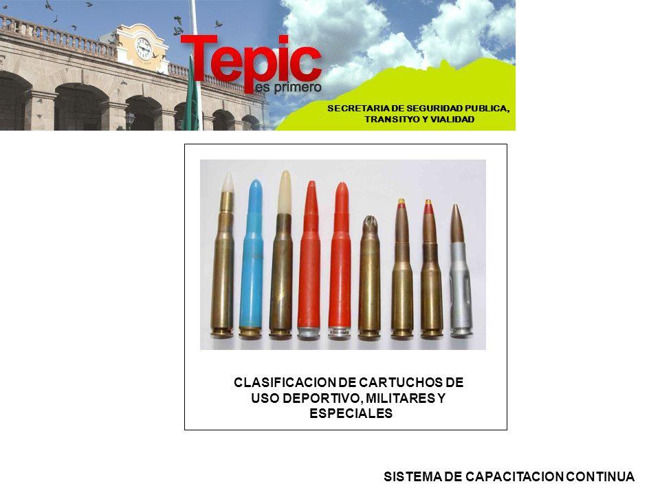 SECRETARIA DE SEGURIDAD PUBLICA, TRANSITYO Y VIALIDAD SISTEMA DE CAPACITACION CONTINUA CLASIFICACION DE CARTUCHOS DE USO DEPORTIVO, MILITARES Y ESPECI