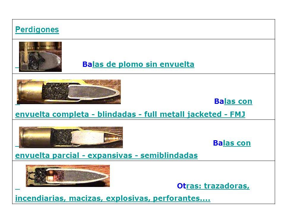 Perdigones Balas de plomo sin envueltalas de plomo sin envuelta Balas con envuelta completa - blindadas - full metall jacketed - FMJlas con envuelta c