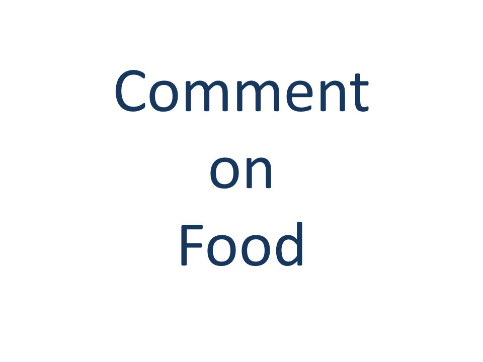 Comment on Food