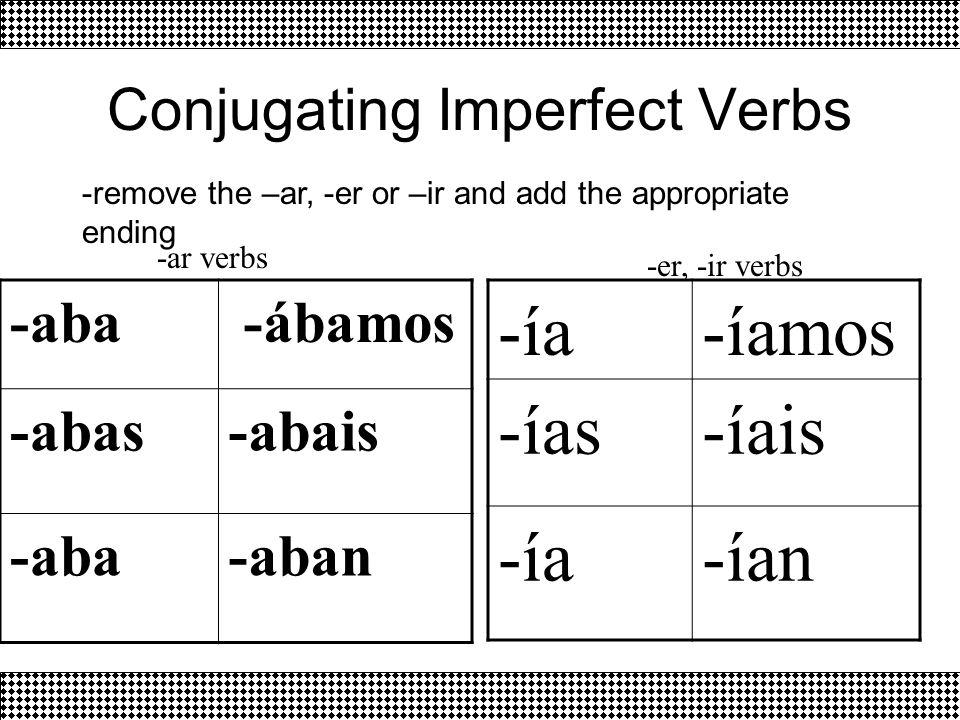 Conjugating Imperfect Verbs -aba -ábamos -abas-abais -aba-aban -ía-íamos -ías-íais -ía-ían -remove the –ar, -er or –ir and add the appropriate ending