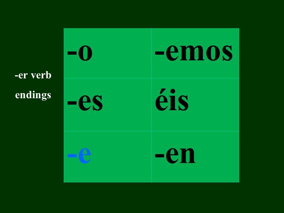 -o-amos -asáis -a-an -ar verb endings