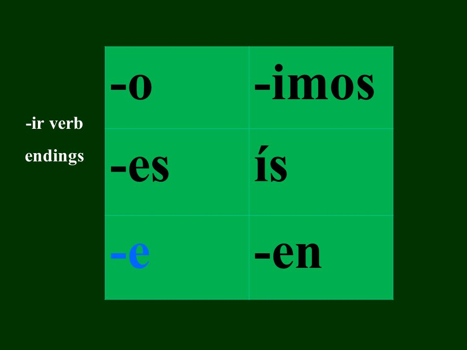 -o-imos -esís -e-en -ir verb endings
