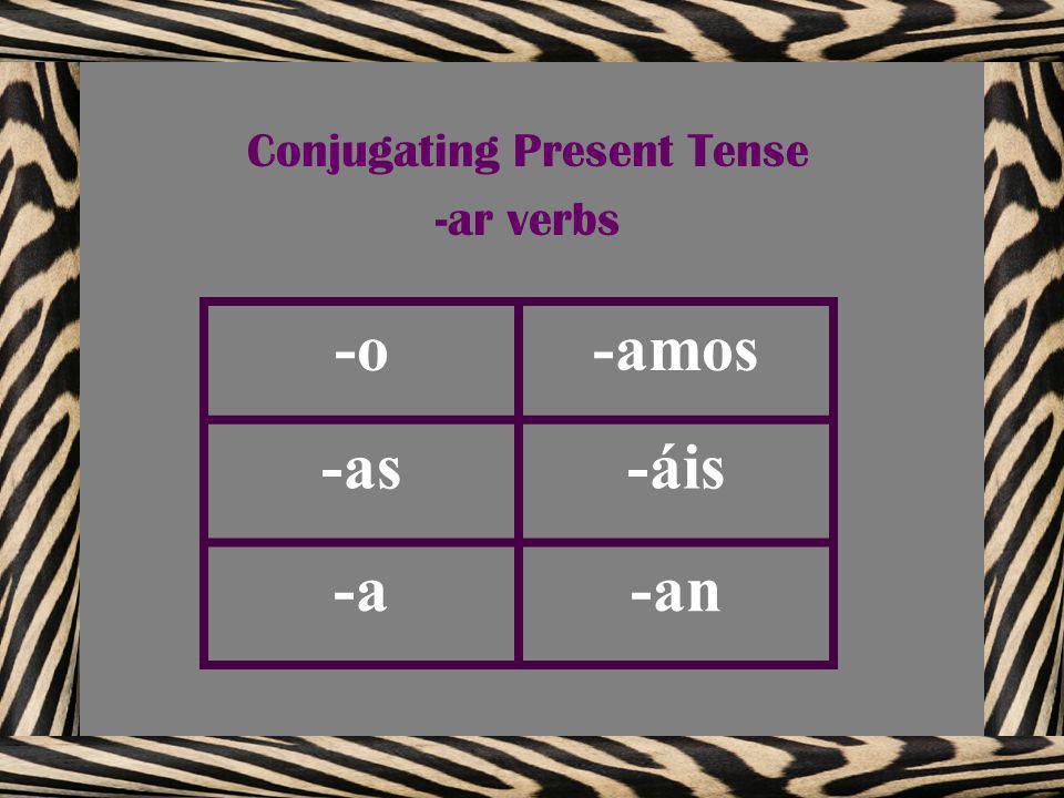 -o-amos -as-áis -a-an Conjugating Present Tense -ar verbs