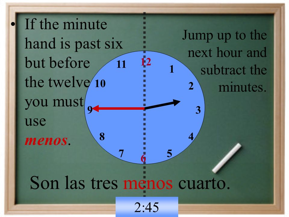 6 12 93 If the minute hand is past six but before the twelve you must use menos.