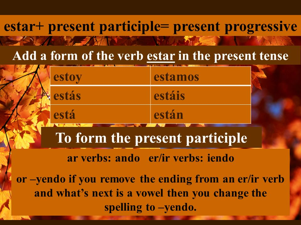 To form the present participle ar verbs: ando er/ir verbs: iendo or –yendo if you remove the ending from an er/ir verb and whats next is a vowel then