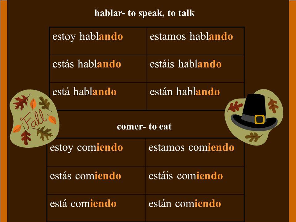 hablar- to speak, to talk estoy hablandoestamos hablando estás hablandoestáis hablando está hablandoestán hablando comer- to eat estoy comiendoestamos