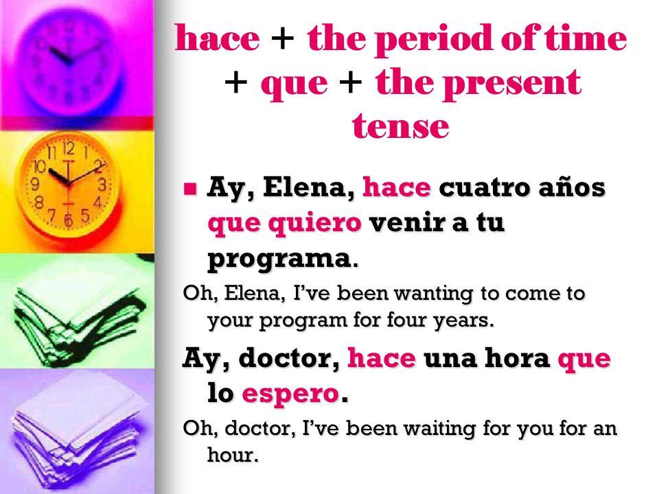 Ay, Elena, hace cuatro años que quiero venir a tu programa. Ay, Elena, hace cuatro años que quiero venir a tu programa. Oh, Elena, Ive been wanting to