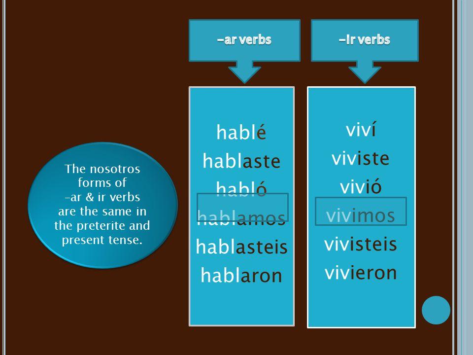 hablé hablaste habló hablamos hablasteis hablaron viví viviste vivió vivimos vivisteis vivieron The nosotros forms of –ar & ir verbs are the same in the preterite and present tense.