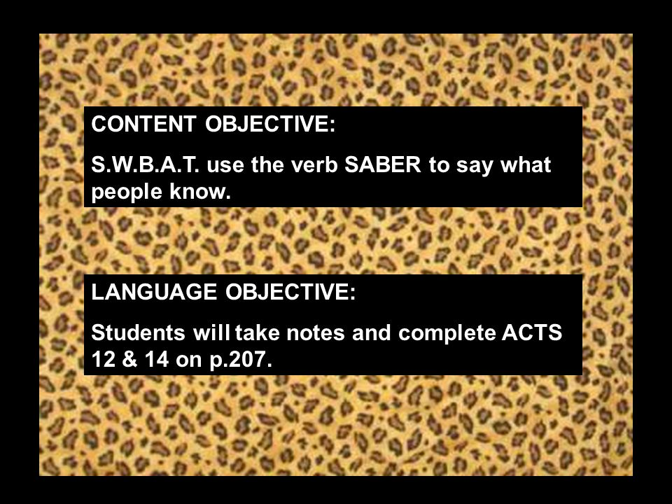CONTENT OBJECTIVE: S.W.B.A.T. use the verb SABER to say what people know.
