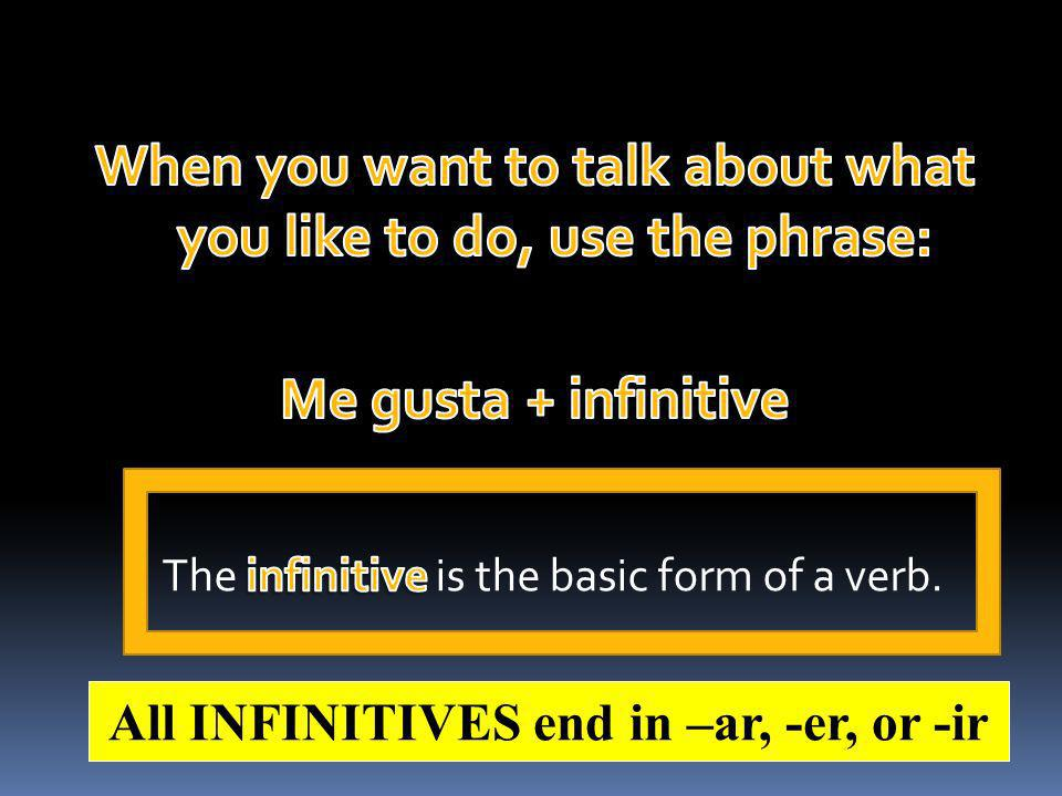 All INFINITIVES end in –ar, -er, or -ir