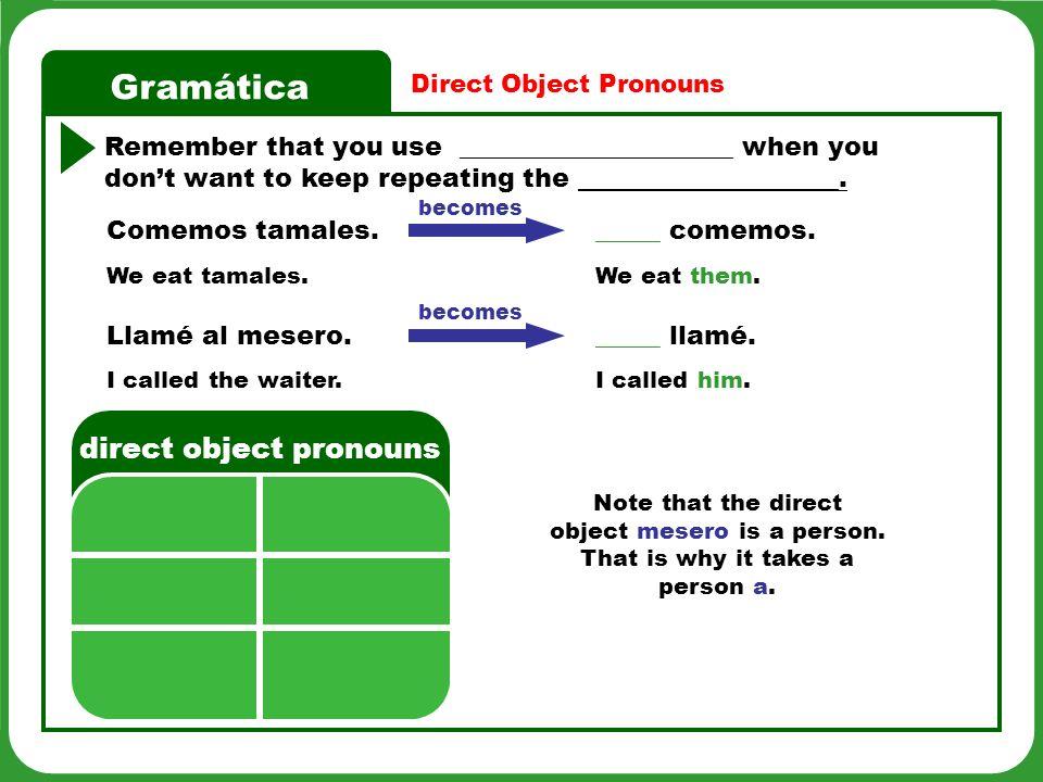 Gramática Direct Object Pronouns 6 Hablar Pregúntale a un(a) compañero(a) si comió o tomó lo Siguiente durante la semana pasada.